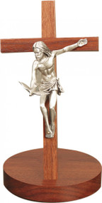 "Gift of the Spirit with 5.75"" Pewter Corpus on a Walnut Cross. Base 5"" Diameter ~ 8"" or 11"" Height"