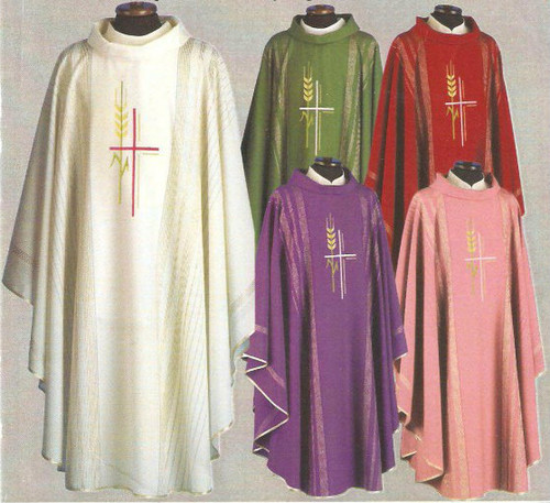 Special! Buy 4 and get 5th FREE~any color combination. Chasuble in Linea Style Fabric (95% pure wool, 5% gold thread). Available in five colors: Rose, White, Green, Red & Purple. These items are imported from Europe. Please supply your Institution's Federal ID # as to avoid an import tax. Please allow 3-4 weeks for delivery if item is not in stock