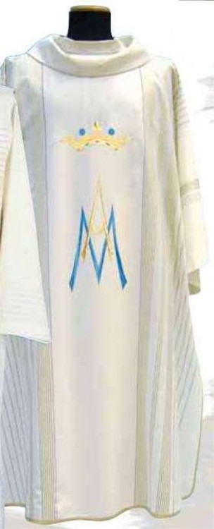 """Marian Dalmatic-Marian Chasuble  in """"Linea Style"""" fabric, 95% wool, 5% gold threads, with gold threads woven into the fabric. Includes inner stole. 51"""" long, 63"""" wide. These items are imported from Europe. Please supply your Institution's Federal ID # as to avoid an import tax. Please allow 3-4 weeks for delivery if item is not in stock"""