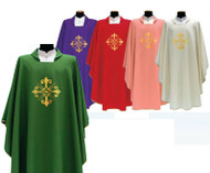 Chasuble in Primavera fabric (100% Polyester), with embroidery on the front and back, Square Collar and inside stole. These items are imported from Europe. Please supply your Institution's Federal ID # as to avoid an import tax.  Please allow 3-4 weeks for delivery if item is not in stock