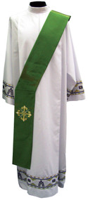 Imported from Italy. Primavera Fabric (100% Polyester) with embroidery on the front and back. Matching Chasuble, Dalmatic, & Overlay Stole Available. Available in Purple, Red, Rose, White and Green. These items are imported from Europe. Please supply your Institution's Federal ID # as to avoid an import tax.  Please allow 3-4 weeks for delivery if item is not in stock