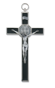 "8"" Black Epoxy St. Benedict Crucifix Pendant. Includes a Leather Cord and Gift Box. Made in Italy."