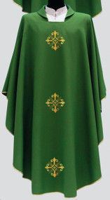 Primavera Fabric (100% Polyester) with embroidered crosses  on the front and back, with inside stole.  Available in Purple, Red, Rose, White and Green. Matching Dalmatic Available. These items are imported from Italy. Please supply your Institution's Federal ID # as to avoid an import tax. Please allow 3-4 weeks for delivery if item is not in stock