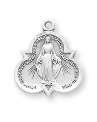 "Miraculous Medal with an 18"" Chain. Medal is sterling silver with genuine rhodium-plated, 18"" stainless steel chain.   Dimensions: 0.8"" x 0.7"" (21mm x 18mm). Deluxe velour gift box is included. Made in the USA."