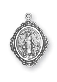 """5/8"""" Miraculous Medal with an 18"""" genuine rhodium-plated, stainless steel chain. Deluxe velour gift box"""