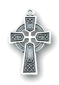 "Sterling Silver Celtic Cross. Cross is on a 24"" genuine rhodium plated endless curb chain. Dimensions: 1.3"" x 0.8"" (32mm x 20mm).  Made in USA. Celtic Cross comes in a Deluxe Velour Gift Box."