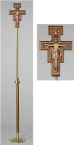 "San Damiano Processional Cross This Processional Cross stands 90"" in Height  Weighs 3.5 lbs, Weighted Base for Stability Combination Satin and Polished Finish in Medium Oak Stain Cross Features the San Damiano Cross/Corpus Matching Sanctuary Appointment Set Available"