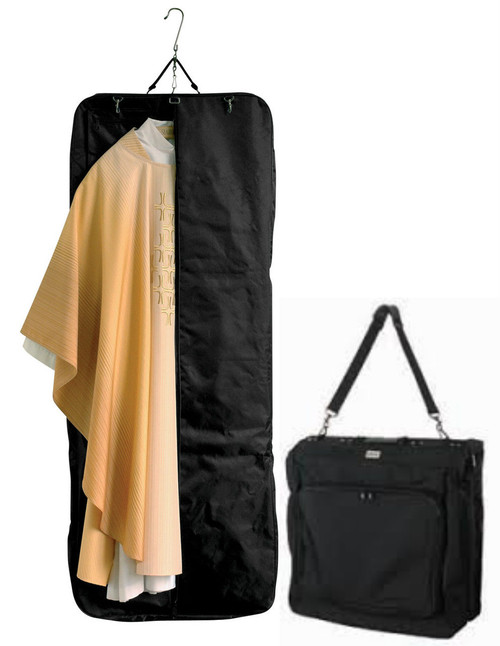 """Light and easy to fold, practical for use as a suitcase or shoulder bag, with detachable shoulder strap. Extra length and generous capacity. Long vestments, albs and personal clothing can easily be packed. Made in man-made Microfiber polyester with an extra strong zipper. Size, when open: 64-1/2"""" L, 23-1/2"""" W & 2-1/3"""" D. Two large pockets outside and two inside. These items are imported from Europe. Please supply your Institution's Federal ID # as to avoid an import tax. Please allow 3-4 weeks for delivery if item is not in stock."""