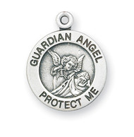 """5/8"""" Sterling silver Guardian Angel medal with a high relief image of the Guardian Angel watching over a child in the solid round pendant. Comes with a genuine rhodium-plated, 13""""stainless steel chain. Deluxe velour gift box. Specially sized for a baby or child."""