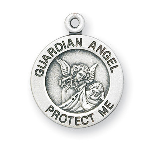 """5/8"""" Sterling silver Guardian Angel medal with a high relief image of the Guardian Angel watching over a child in the solid round pendant. Available in sterling silver or 16K gold over sterling silver. Sterling Silver medal is all sterling silver with a genuine rhodium-plated, stainless steel chain.  Gold plated sterling medal is 16 karat Gold over all sterling silver chain, medal, and clasp. Deluxe velour gift box. Specially sized for a baby or child."""