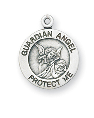 "11/16"" Sterling Silver Guardian Angel Medal comes with a genuine rhodium-plated, 13"" stainless steel chain. Comes in a deluxe velour gift box. Specially sized for a baby or child. Prices subject to change without notice."