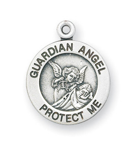 """11/16"""" Sterling Silver Guardian Angel Medal comes with a genuine rhodium-plated, 13"""" stainless steel chain. Comes in a deluxe velour gift box. Specially sized for a baby or child. Prices subject to change without notice."""