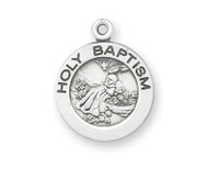 "5/8"" Baptism Medal. Depicts the Holy Spirit hovering over baby. Available in sterling silver with a with a genuine rhodium-plated, stainless steel 13"" chain. Gold plated sterling medal is 14 karat Gold over all sterling silver 13"" chain, medal, and clasp. Deluxe velour gift box. Specially sized for a baby or child.  Made in the USA"