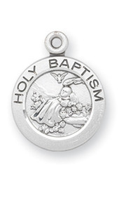 "3/4"" Sterling Silver or Gold over Silver Holy Baptism round medal-pendant. Dimensions: 0.7"" x 0.6"" (18mm x 16mm). Weight of medal: 1.6 Grams. Sterling Silver comes with a 13"" Genuine rhodium plated curb chain.he Gold over Sterling Silver comes with an 18"" Chain.   Gold plated sterling medal is 14 karat Gold over all sterling silver 18"". Medal comes in a deluxe velour gift box. Specially sized for a baby or child. Made in the USA. Engraving Available."