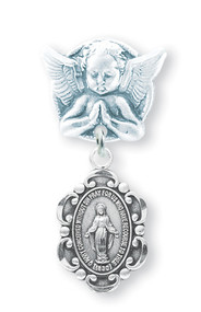 Guardian Angel Baby Pin in Sterling Silver