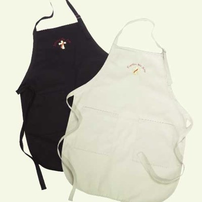 Deacon or Deacon's Wife Apron. Black or Tan. Embroidered with Deacon Cross or Deacon's Wife Cross ONLY. 65% Polyester/35% Cotton. 22W x 30L