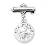 "1 3/16"" Holy Baptism Round Pendant-Pin. Baptism Baby Bar Pin comes in either .925 Sterling Silver or 16k Gold over Sterling Silver. Dimensions of medal: 1.1"" x 0.6"" (29mm x 15mm). Weight of medal: 2.0 Grams. Engraving on bar available. Comes in a deluxe velour gift box. Made in USA."