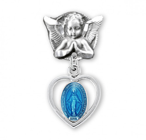 """Blue enamel 1 1/16"""" Sterling silver Miraculous Medal in a Heart Angel Pin. Sized for a baby, ideal for baptisms and christenings. Comes in a Deluxe velour gift box. Dimensions: 1.0"""" x 0.5"""" (25mm x 13mm). Made in the USA."""