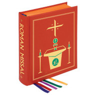 Chapel Clothbound Edition of the Roman Missal. Third Edition For Use in the Dioceses of the United States of America. Approved by the United States Conference of Catholic Bishops and Confirmed by the Apostolic See. Approx. 1500 pages ~ Over 300 full-color illustrations, including 25 full- page images. White sheets provide the highest opacity and readability. Durable 80 lb. paper used for the Order of Mass provides extra strength. Doubly reinforced Smyth sewing coupled with heavy- duty 100 pt. binder's board. Sturdy, durable Roxite cover material. Enhanced binding methods and specifications. Limited lifetime-guaranteed tabs specially designed to resist cracking, tearing, and fading. Five decorated satin ribbon page markers, designed not to fray. Two-color stamping on front cover and spine