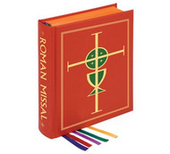 "8.5 x 11"" Clothbound Roman Missal Altar Edition. Large easy to read type. Printed on specially produced cream paper to ensure the highest degree of opacity without adding unnecessary bulk and weight. Sturdy, durable 80 lb. paper for the Order of Mass. Roxite cover, satin ribbon markers. Two-color stamping on front cover and spine. Over 300 full-color illustrations throughout, including more than 25 full-page images, 1456 pages"