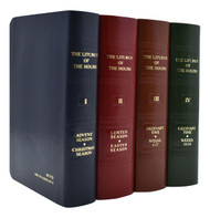 409/10 ~ The complete set of the official English edition of the Liturgy of the Hours (Divine Office) contains all four volumes of the translation approved by the International Committee on English in the Liturgy. Includes the current St. Joseph Guide for the Liturgy of the Hours (Product Code: 400/G) and Inserts for the Liturgy of the Hours (Product Code 400/I).  Printed in two colors and bound in flexible simulated leather, the complete four-volume set of the Liturgy of the Hours includes handy ribbon markers and features a gold-stamped spine and elegant stained page edging to match the cover.