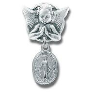 "Sterling silver AP3100 - 1"" Sterling Silver Oval Miraculous Medal on an Angel Pin. Pin comes in a deluxe velour gift box. Sized for a baby, ideal for baptisms and christenings. Dimensions: 1.0"" x 0.5"" (25mm x 13mm). Made in USA."
