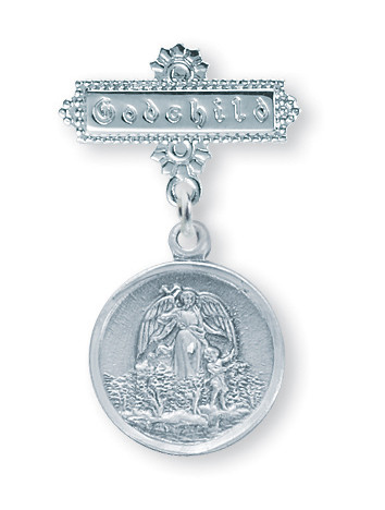 """Godchild Guardian Angel Bar Pin.  Solid .925 Sterling Silver Guardian Angel Baby Bar Pin with """"Godchild"""" engraved on Bar Pin. Dimensions: 1.1"""" x 0.7"""" (29mm x 18mm). Deluxe velour gift box is included. Made in USA."""