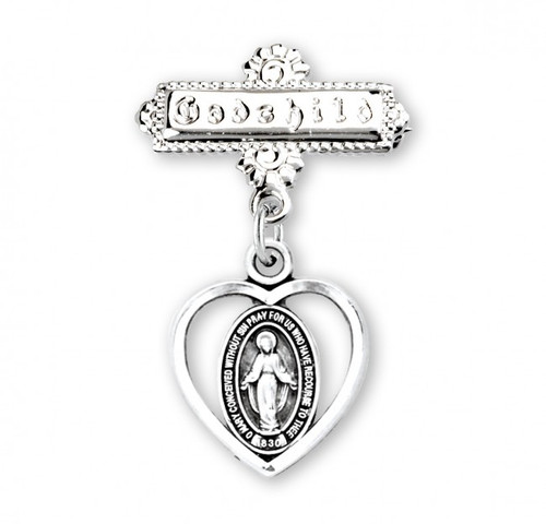 """Sterling Silver Pierced Heart Baby Miraculous Medal on a Godchild Pin. Miraculous Medal heart pendant-godchild pin.  Solid .925 sterling silver double sided pendant. The word """"Godchild"""" is engraved in the bar pin. Dimensions: 1.0"""" x 0.7""""(26mm x 18mm). Weight of medal: 3.6 Grams. Made in USA."""