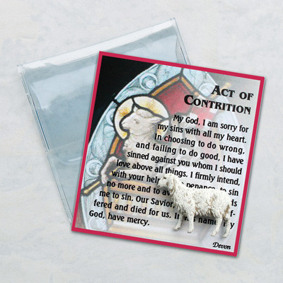 "Inspirational Moments. The Act of Contrition Prayer on a Card with small Lamb Keepsake. Great gift idea for a First Holy Communion Class!. Comes in small vinyl folder. Card Size: 2 3/4"" x 3"""