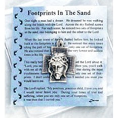 "Inspirational Moments~Footprints Prayer Card & Token.  Perfect for purse, briefcase or pocket, these small devotional remembrances are a helpful way to encourage you to have an inspirational moment every day.  Contains a prayer card and devotional remembrance.  Card Size: 2 3/4"" x 3"