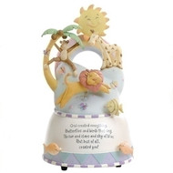 "7"" God Created Everything Musical Figurine. Plays ""You are My Sunshine"". Dimensions:7""H X 4.5""W X 4.5""D. Resin/stone mix. Gift Boxed"