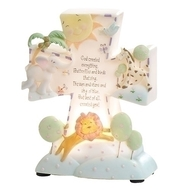 "God Created Everything Night Light.  The God Created Everything Night Light dimensions are: 6.5""H X 5.5""W X 2.25""D. The Night Light is made of a resin/stone mix.  The God Created Everything Night Light comes gift boxed."