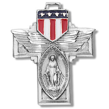 """1 1/8"""" Military Miraculous Medal. Medal comes on a  24"""" Genuine rhodium plated endless curb chain. The medal features a red, white, and blue epoxy U.S. military shield. Metal comes in a deluxe velour gift box"""