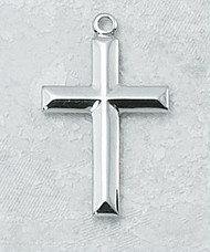 "Raised Beveled Design Cross Pendant in Sterling Silver or Gold-Plated Sterling Silver ~ 14/16"" pendant size. Includes 18"" Rhodium or Gold-Plated Chain. Deluxe Gift Box"