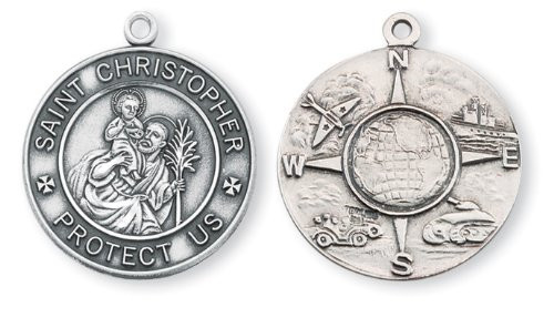 """Saint Christopher Military Medal with a 24"""" Chain. Medal is all sterling silver with a 24"""" genuine rhodium plated endless curb chain. All branches of the military are represented on the back of the medal. Dimensions: 1.1"""" x 0.9"""" (28mm x 14mm).  Medal comes in a deluxe velour gift box"""
