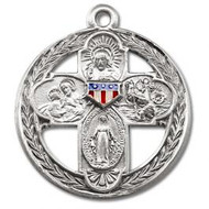 "1 1/8"" 4-Way Military Medal with a 24"" Chain. Sts. Christopher & Joseph, the Sacred Heart of Jesus and the Miraculous Medal. Medal is all sterling silver with a genuine rhodium-plated, stainless steel chain. The medal features red white and blue epoxy U.S. military shield. The back reads: ""Queen of Peace, lead us to victory and safely home."" Deluxe velour gift box"