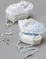 "Baby Boy or Girl Porcelain Bassinet Box with Rosary. Perfect for New Baby or a Baptism Gift! Made of Porcelain and Glass. Rosary measures 2.5""L X 1.5""H 13"""
