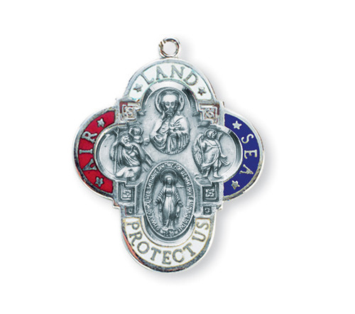 "1 1/4"" with a 24"" Chain. Air, Land & Sea Military 4-Way  Medal w/Sts. Christopher, Michael, the Miraculous Medaland the Sacred Heart of Jesus . Medal is all sterling silver with a genuine rhodium-plated, stainless steel chain. The medal features red white and blue expoxied air, land, and sea. Deluxe velour gift box."