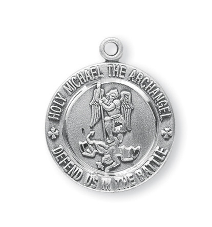 "Saint Michael FRONT  ~ Sterling silver 15/16"" St. Michael Medal. Medal has St Michael depicted on the front and the back of the medal is the United States Navy symbol.  Sterling silver St. Michael Medal comes on a genuine rhodium-plated stainless steel 24""chain.  A deluxe velour gift box is included"
