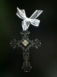 "In Loving Memory 3 1/2"" x 5"" Pewter Filigree Cross is adorned with four Small White Beads at each end of cross. A beautiful way to remember loved ones in a unique and special way. Has a white Ribbon for hanging and is Gift-Boxed and can be engraved with loved ones name"