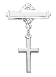 Cross Baby Bar Pin, Available in Sterling Silver or Gold-Plated Sterling Silver. Gift Box included. Engraving Option Available