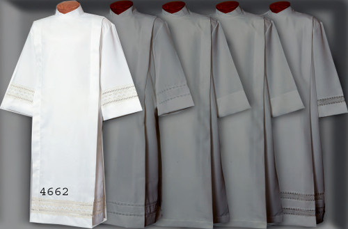 Alb in 100% polyester for easy care (see sizing charts below). Accented with Swiss Schiffli Embroidery and Eyelet. Button or velcro closures-please make selection.  Ample size available. See sizing chart on Product Description page.