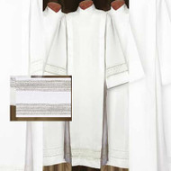 """Alb in White Linen Weave Polyester. Two 2"""" Lace Bands on Bottom of Garment and One on Cuffs. Your choice of Velcro or Button Closure. Ample Cut sizes available upon request, please contact us at 800-523-7604 for details"""