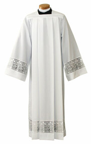 """Silky Smooth Poplin Alb with 5"""" Lace Bands and Latin Cross with IHS. Ample Cut sizes available upon request, please contact us at 800-523-7604 for details. See sizing chart under product description."""