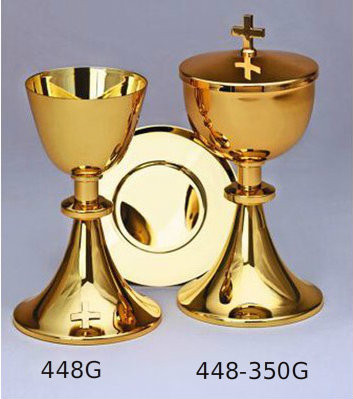 "Gold Plate Brass Chalice and Paten: Dimensions: 7 1/4"" Height; 3 3/4"" Cup Diameter; 12 ounce; 350 host capacity. Gold Plate Ciborium with Lid: Dimensions: 8.5: Height; 4.5"" cup diameter. Make Selection in Option Box"