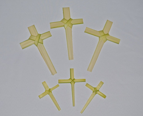 "Palm Crosses, Large and Small-Fresh Handmade Palm Crosses:  4""-6"" Crosses 25 pack or 8""-12"" Crosses 25 pack"