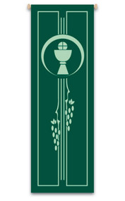 The banner creates a warm atmosphere, inspiring peace, quiet, and prayer.Comes in Raytex DM made of 100% polyester. Finished at top with an open hem. Comes with a wooden rod, two wooden apples and a hanging cord. Metal dowel at the bottom of the banner is incorporated into the hem. Size 9 4/5' x 3 1/4'. These items are imported from Europe. Please supply your Institution's Federal ID # as to avoid an import tax.  Please allow 3-4 weeks for delivery if item is not in stock.
