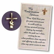 "Confirmation Sponsor Lapel Pin - Say thank you in a special way to your Confirmation sponsor. Gold plated pin 3/4"" x 1/2"". Pin comes on a 3 3/4"" x 5 1/2"" gift card . ""May God bless you for your commitment to walk with me on my spiritual journey, leading by example when the path isn't clear, waiting for me when problems slow my pace, and offering to fly with me when my spirit wants to soar With this pin, comes my sincere appreciation. As you wear it, may it be a reminder of our special relationship and the spiritual journey we share."""