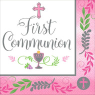 """Pink Luncheon Plates with the words, """"First Communion""""  are printed amidst a cross, the Blessed Sacrament, and grapes and wheat. The luncheon napkins measure  7"""" x 7'.  There are 36 Napkins per pack."""