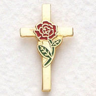 Cross Lapel Pin with Rose for Respect Life.
